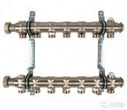 """Гребенка """"Multidis SH"""" 1""""из инструментальной стали для отопительных приборов Oventrop на 7 контуров"""