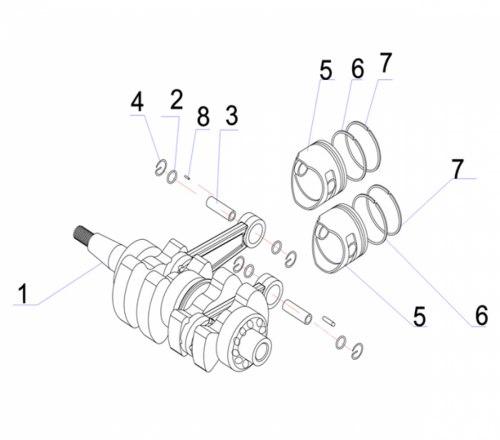 Коленвал Yamaha/Hidea/Parsun 9.9/15