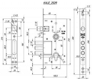 Корпус замка врезного цилиндрового KALE KILIT 252/R w/b