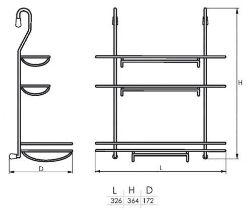 Полка для тройная для бумажного полотенца и пленок (325*175*386) SOLLER KS-2043 (183-020)