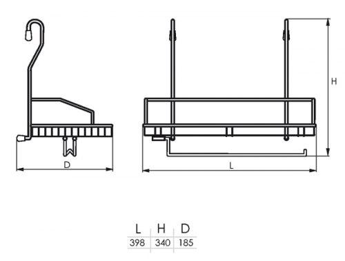 Полка одинарная с вешалкой для полотенец (400*208*338) SOLLER KS-2056 (183-013)