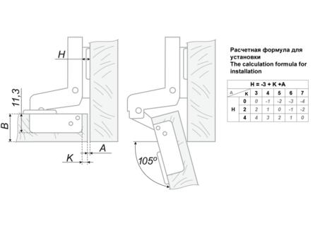 Петля мебельная вкладная BOYARD H102C02/0112