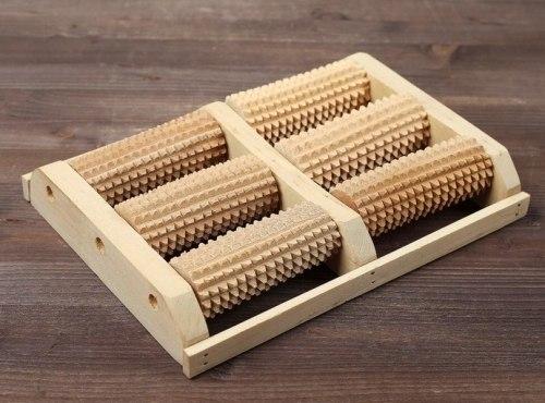 Массажер деревянный для двух стоп, 6 валиков, бук 2681964