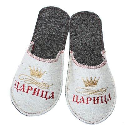 """Тапочки банные женские с вышивкой """"Царица"""" , войлок, р-р 38-39 Б1711"""