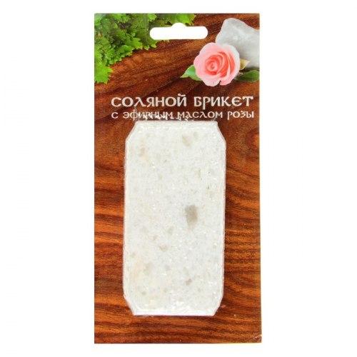 Соляной брикет с эфирным маслом розы 0.2кг Соляная баня