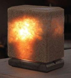 Соляная лампа из смеси Каменной и Крымской Розовой соли 4 кг на деревянной подставке Соляная баня