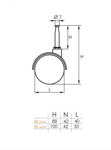 Опора колесная со штырем 50мм SOLLER 125-016