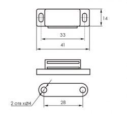 Магнит мебельный SOLLER L 45мм, h 12,5мм