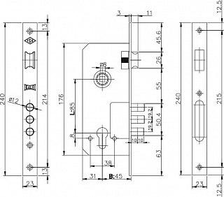 Корпус замка цилиндрового KALE KILIT 152/3 MR (45мм) w/b никкель