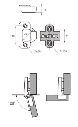 Петля мебельная накладная SOLLER 362В (51гр)