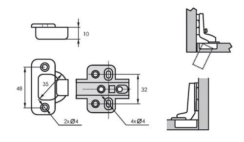 Петля мебельная полунакладная с доводчиком SOLLER 201В-94G