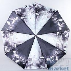 Зонт женский (Сатин) Zest 23944 (Чёрно-белый Нью- Йорк)