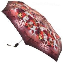 Зонт компактный шёлковый с бабочками Три слона 090