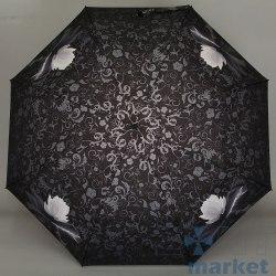 Зонт женский автомат Zest 23745 (Кувшинки на чёрном)