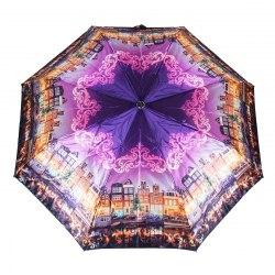Зонт женский полуавтомат Три слона 882 (Город с фиолетовым)