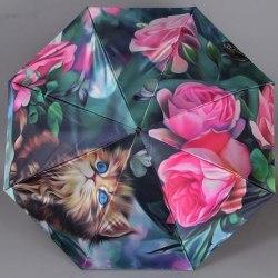 Зонт женский автомат Trust 30471 Кот с розами
