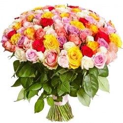 "Букет роз ""Радуга"" 101 роза"