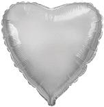 Шарик серебряное сердце 45 см.