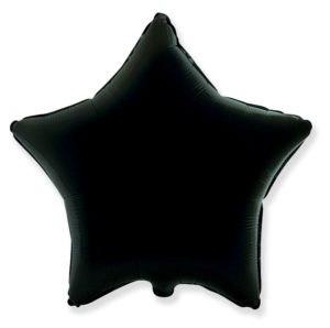 Фольгированная черная звезда 45 см.