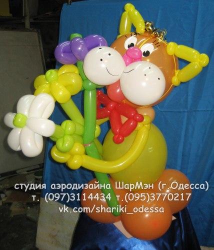 Котик с букетом из шариков