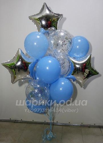 """Сет шариков """"Три звезды в голубом"""""""
