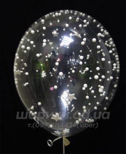 Прозрачный шар с белой мишурой из пенопласта