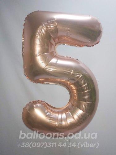 Фольгированные цифры 65 см. Розовое золото