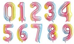 Радужные фольгированные цифры Slim