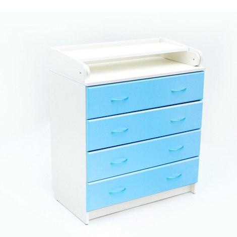 Пеленальный комод Бамбини 01 (белый-голубой)