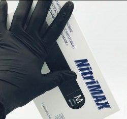Перчатки нитриловые черные NITRIMAX одноразовые S XS M L (100 штук)