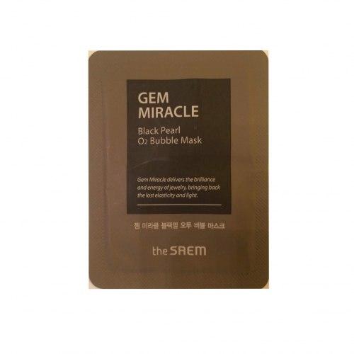 Маска кислородная с экстрактом жемчуга пробник THE SAEM Gem Miracle Black Pearl O2 Bubble Mask-Sample(Pouch) 3мл