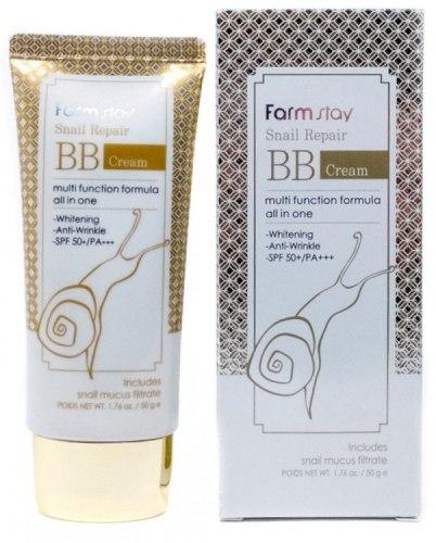 Восстанавливающий ББ-крем с муцином улитки FARMSTAY Snail Repair BB Cream SPF50+ PA+++