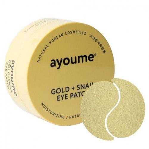 Патчи для глаз омолаживающие с золотом и улиточным муцином AYOUME GOLD+SNAIL EYE PATCH 1,4гр*60