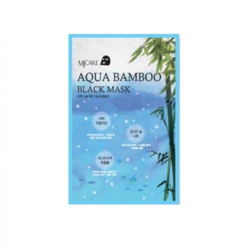 Маска тканевая для лица Черный бамбук MIJIN AQUA BAMBOO black mask 25гр