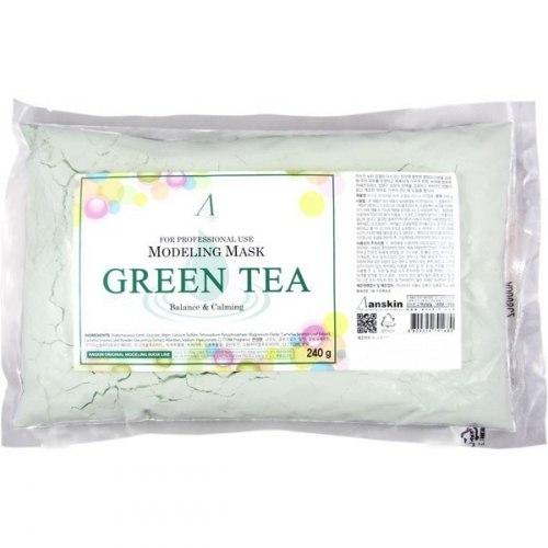 Маска альгинатная с экстрактом зеленого чая успокаивающая ANSKIN Green Tea Modeling / Refill 240гр