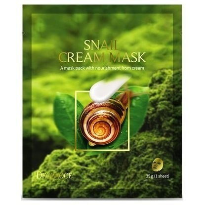 Тканевая маска с муцином улитки DEOPROCE SNAIL CREAM MASK