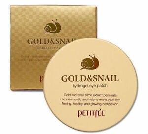 Гидрогелевые патчи с золотом и секретом улитки PETITFEE Gold & Snail Hydrogel Eye Patch