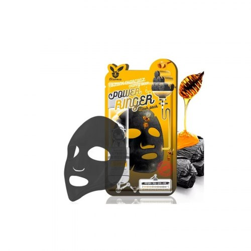 Тканевая маска ELIZAVECCA Black Charcoal Honey Deep Power Ringer Mask Pack