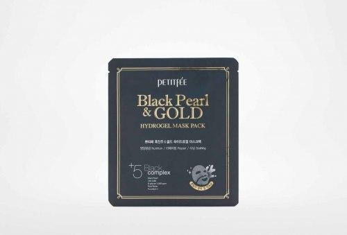 Гидрогелевая маска с золотом и черным жемчугом PETITFEE Black Pearl Gold Hydrogel Mask Pack