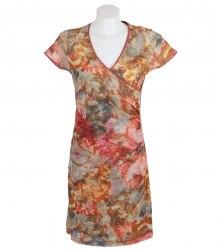 Коричневое платье драпированное спереди Yest 12784