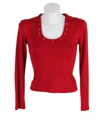Красная футболка декорированная пуговицами None 12844