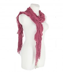 Вязаный розовый шарф с оборкой и бахромой None 12875