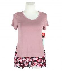 Удлиненная розовая футболка с вставкой внизу Ava james 13303