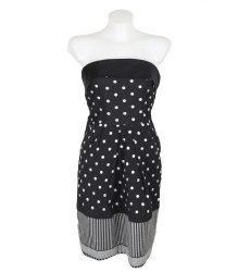 Черное платье-бандо в серебристый горошек Nakuro 13529