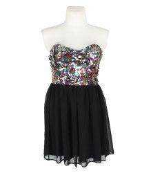 Черное платье-бандо с верхом из разноцветных пайеток Rare (Asos) 13530