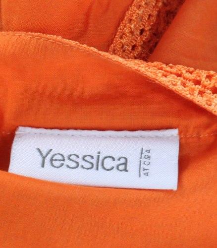Оранжевая блуза декорированная кружевом C&A 13482