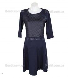 Cинее платье с оригинальной вставкой спереди Eva Style 13963