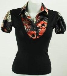 Черная комбинированная блуза с цветочным воротником Gianetta 3152