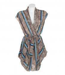 Коричневое шифоновое платье в полоску Qian Xue 14181