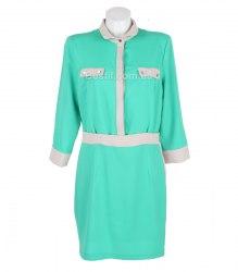 Зеленое платье с серой отделкой MCGS 14182